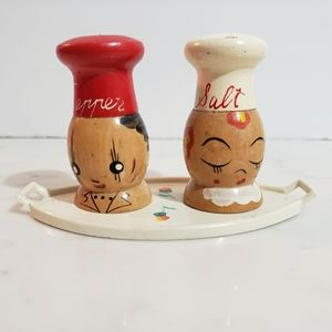 Vintage Small Wooden Salt And Pepper Shakers/Tray